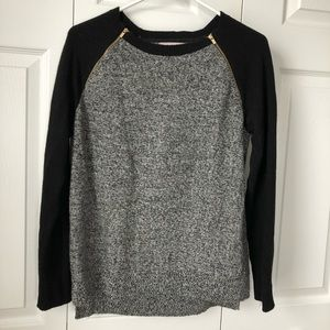 Banana Republic Gray And Black Gold Zip Sweater M